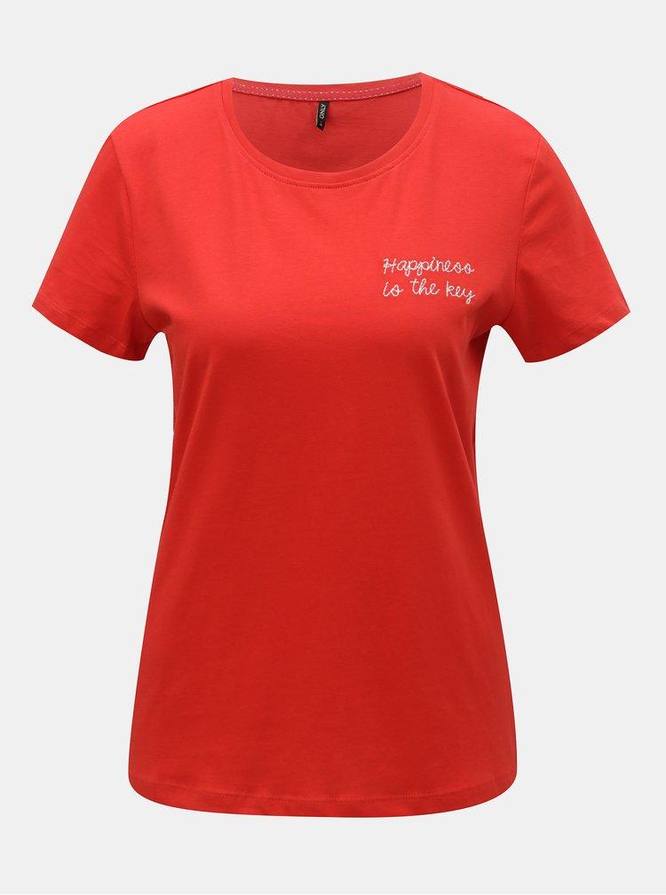 Červené tričko s výšivkou ONLY Lelia