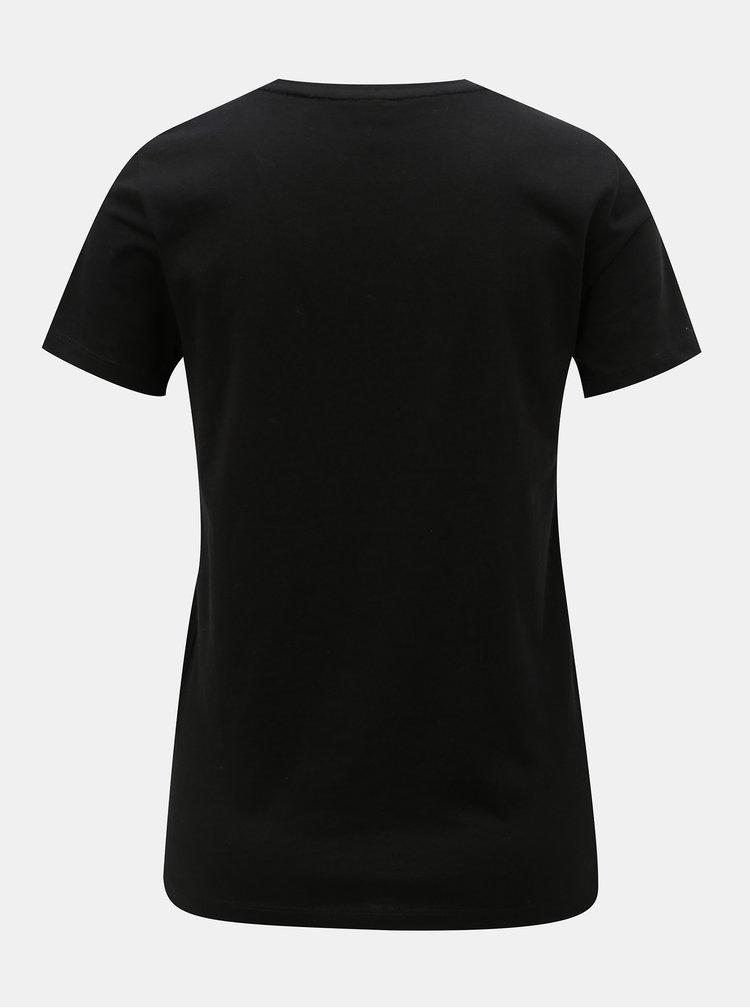 Černé tričko s kapsou a výšivkou ONLY Polly