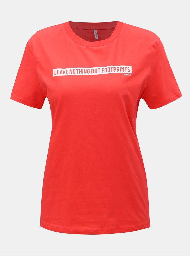 Červené tričko s potlačou ONLY Sense