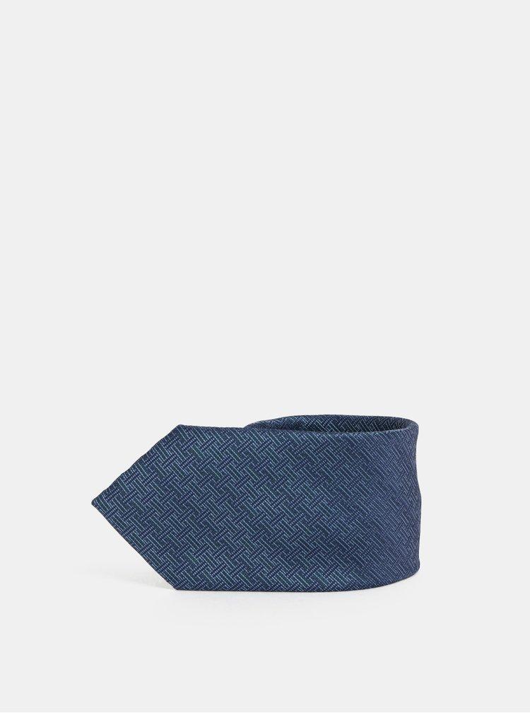 Tmavomodrá vzorovaná kravata Jack & Jones Roth