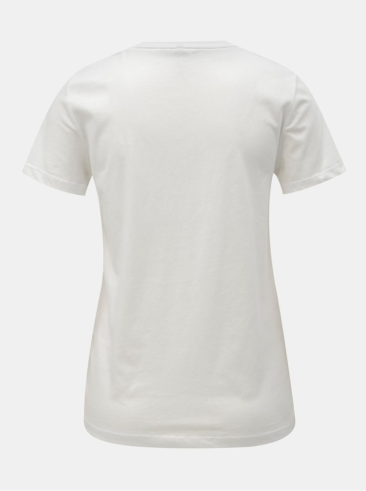 Bílé tričko s kapsou a výšivkou ONLY Polly