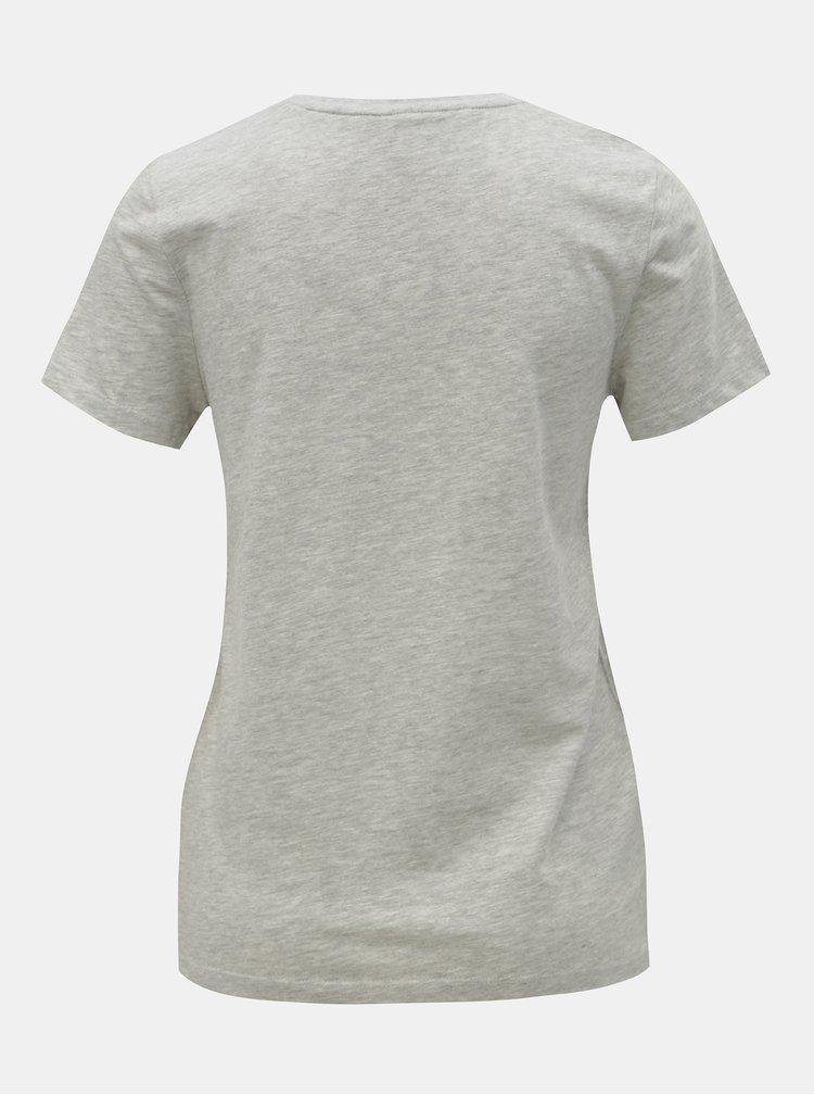 Světle šedé žíhané tričko s kapsou a výšivkou ONLY Polly