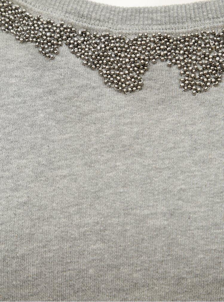 Světle šedá žíhaná mikina s korálky ONLY Nora