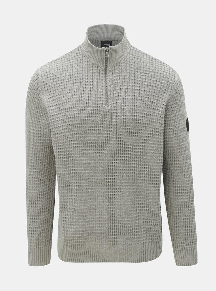 Šedý svetr se zipem Burton Menswear London