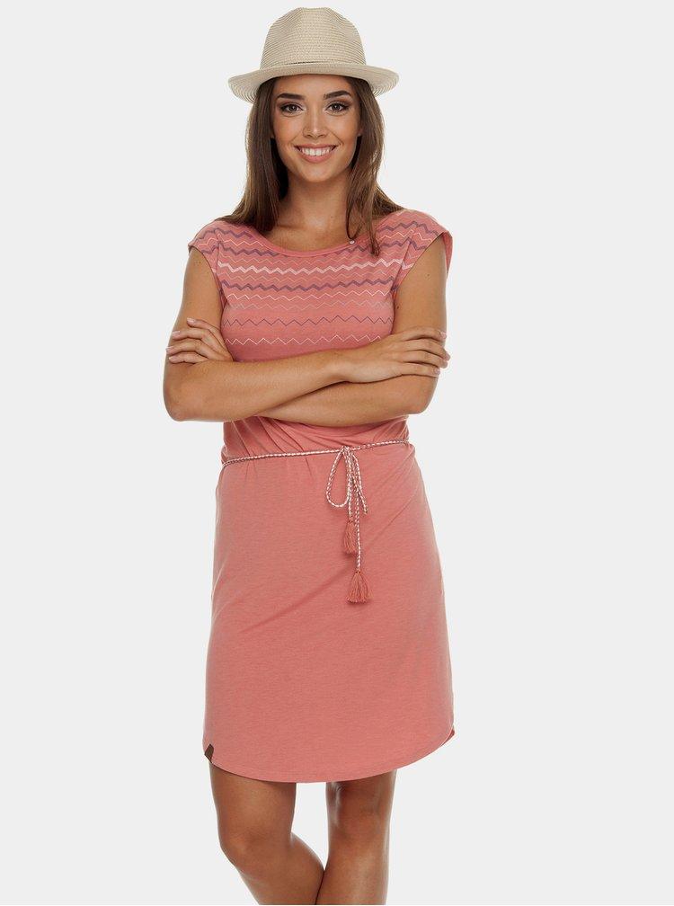 Korálové šaty s výstřihem na zádech Ragwear Valencia