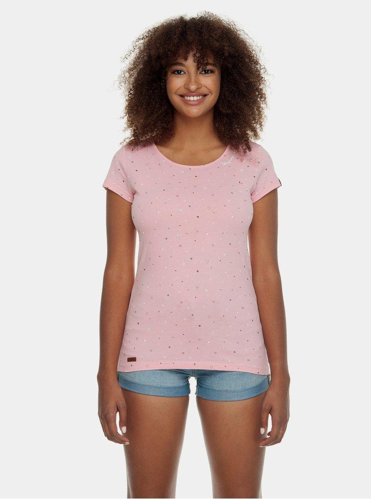 Růžové dámské tričko s potiskem Ragwear Mint Luck