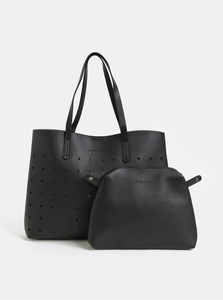 Geanta neagra perforata pentru shopping cu portofel Claudia Canova Lunor