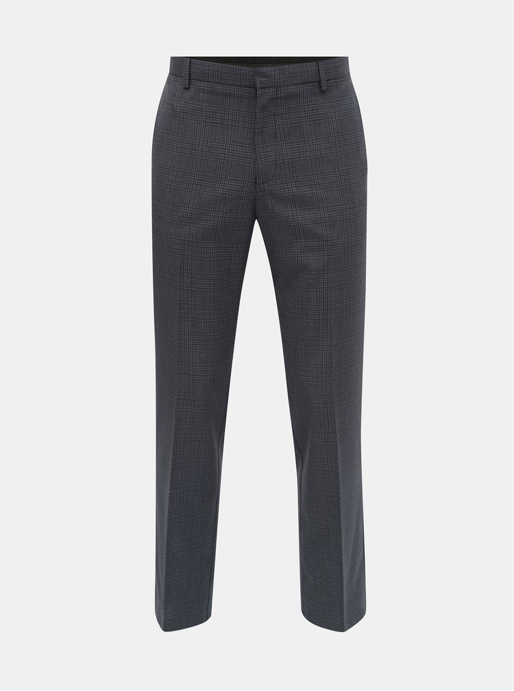 Pantaloni albastru inchis in carouri tailored fit Burton Menswear London