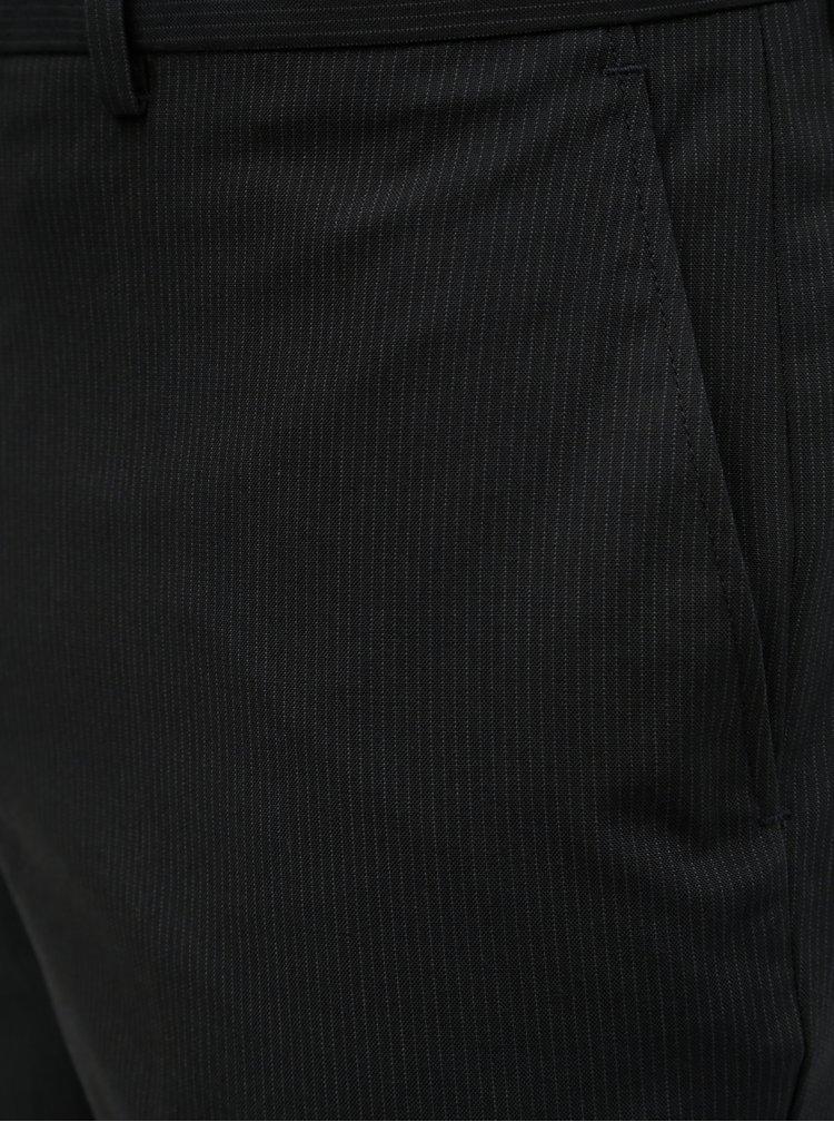 Pantaloni negri in dungi regular fit Burton Menswear London