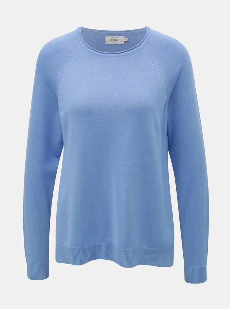 Světle modrý svetr s rozparky ONLY New