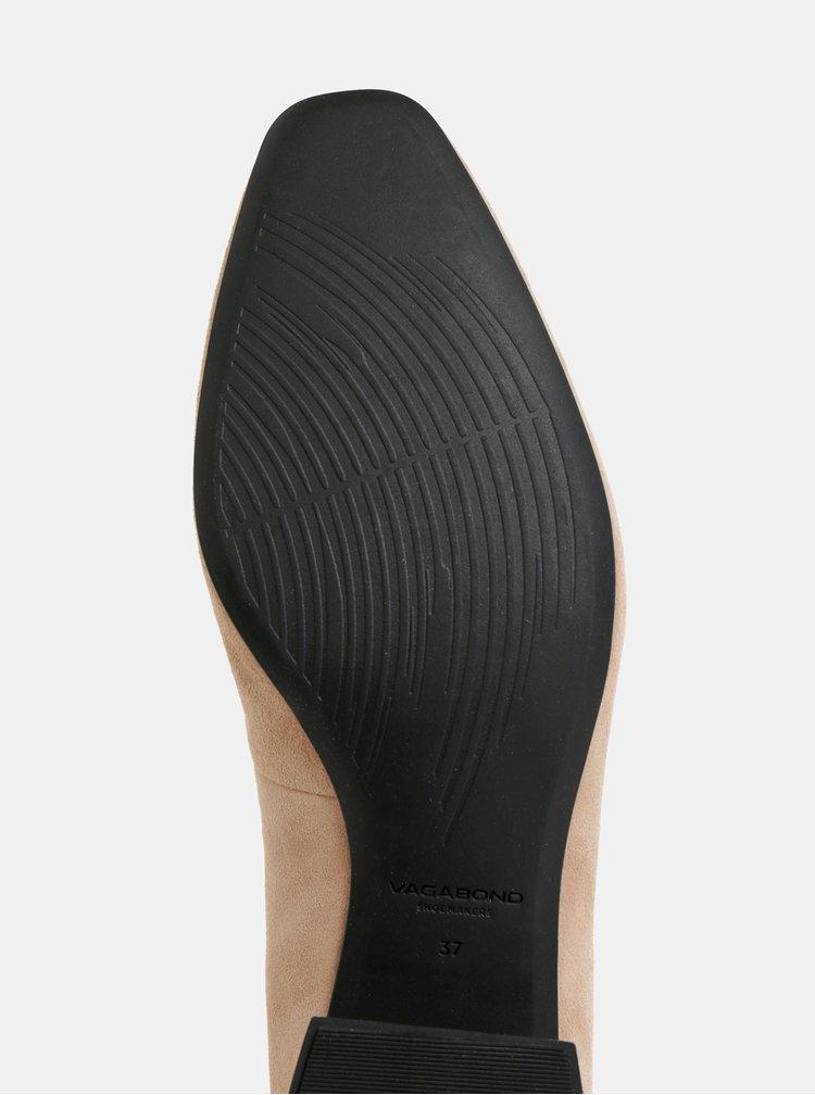 Béžové semišové lodičky s nízkým podpatkem Vagabond Joyce