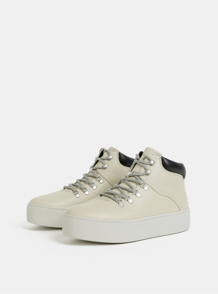 Pantofi sport inalti crem de dama din piele cu platforma Vagabond Jessie
