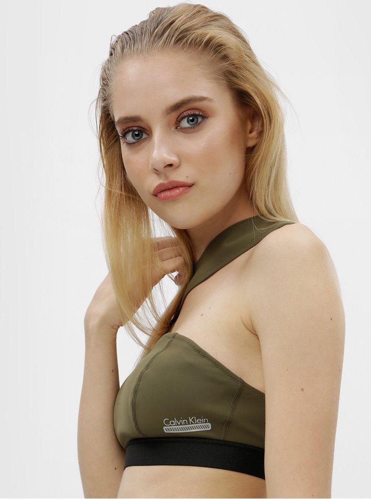 Bustier de baie asimetric verde inchis cu decupaje - Calvin Klein