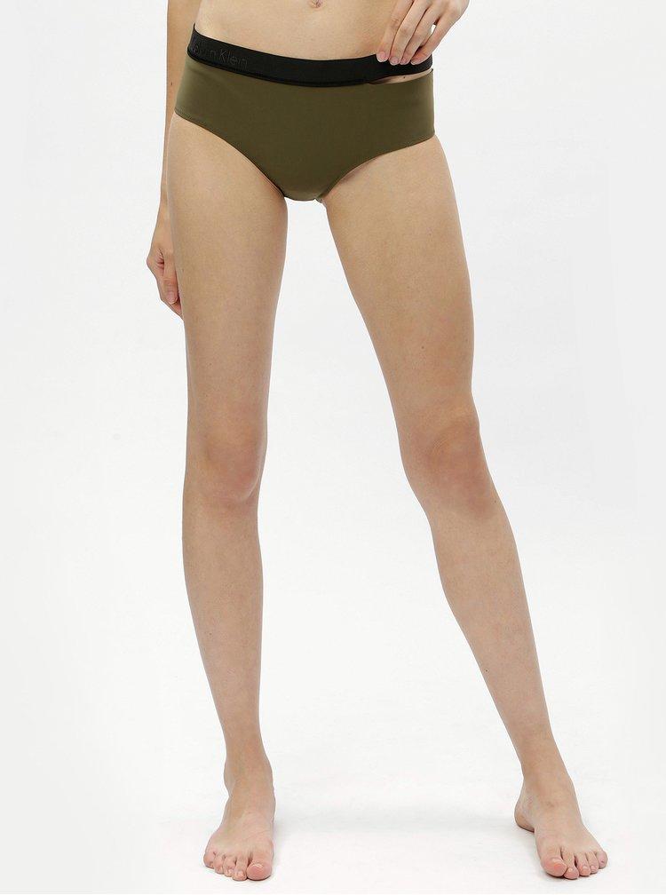 Slip de  baie verde inchis cu decupaj lateral - Calvin Klein Underwear