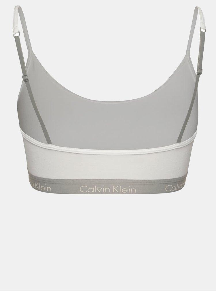 Bustier sport alb cu bretele ajustabile si logo - Calvin Klein Underwear