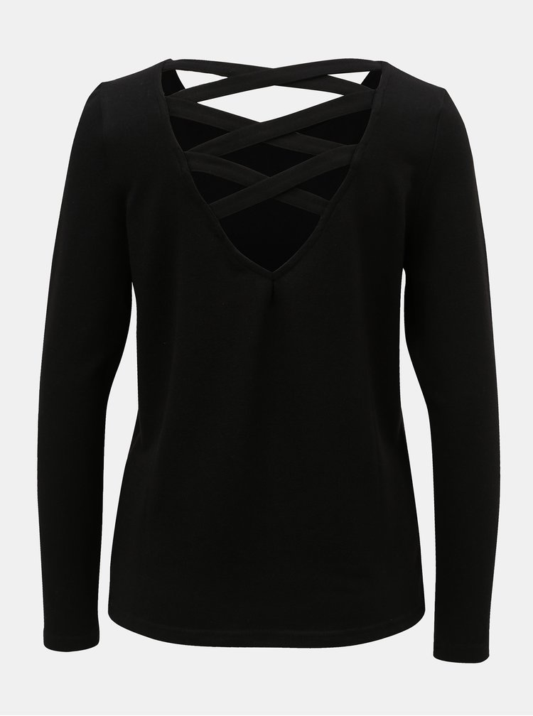 Černé tričko s pásky na zádech Jacqueline de Yong Emily