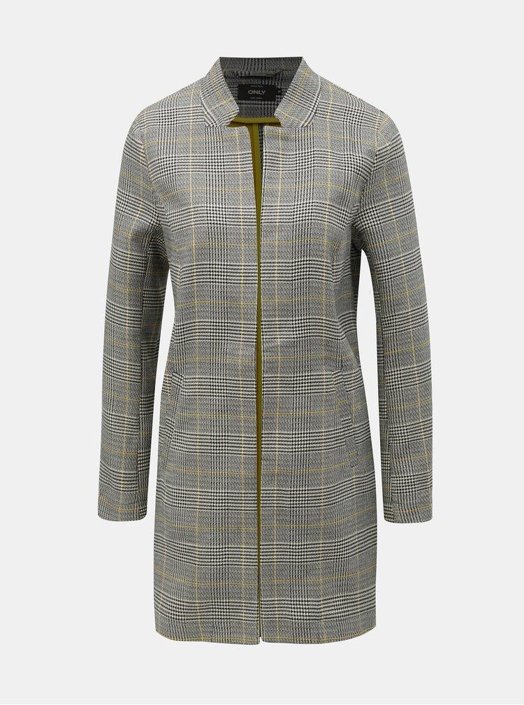 Sivý kockovaný tenký kabát ONLY Jess