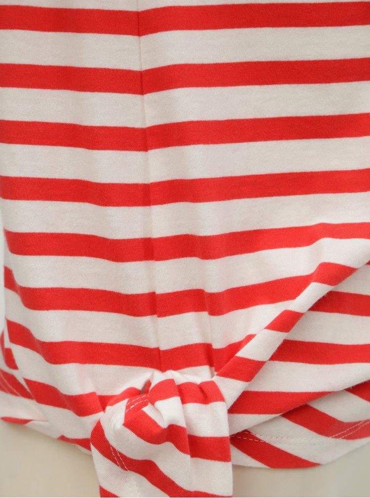 Bílo-červené pruhované tričko s uzlem ONLY Brave