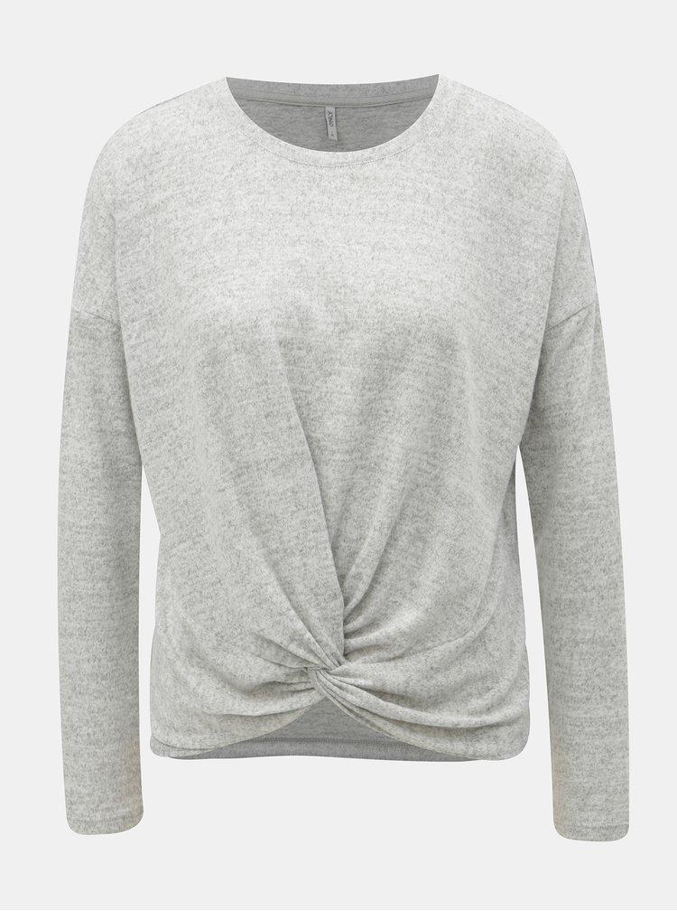 Světle šedý žíhaný volný svetr ONLY Alberta
