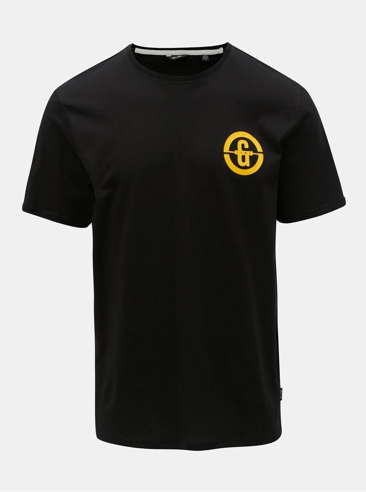 Tricou negru cu imprimeu ONLY & SONS Edward