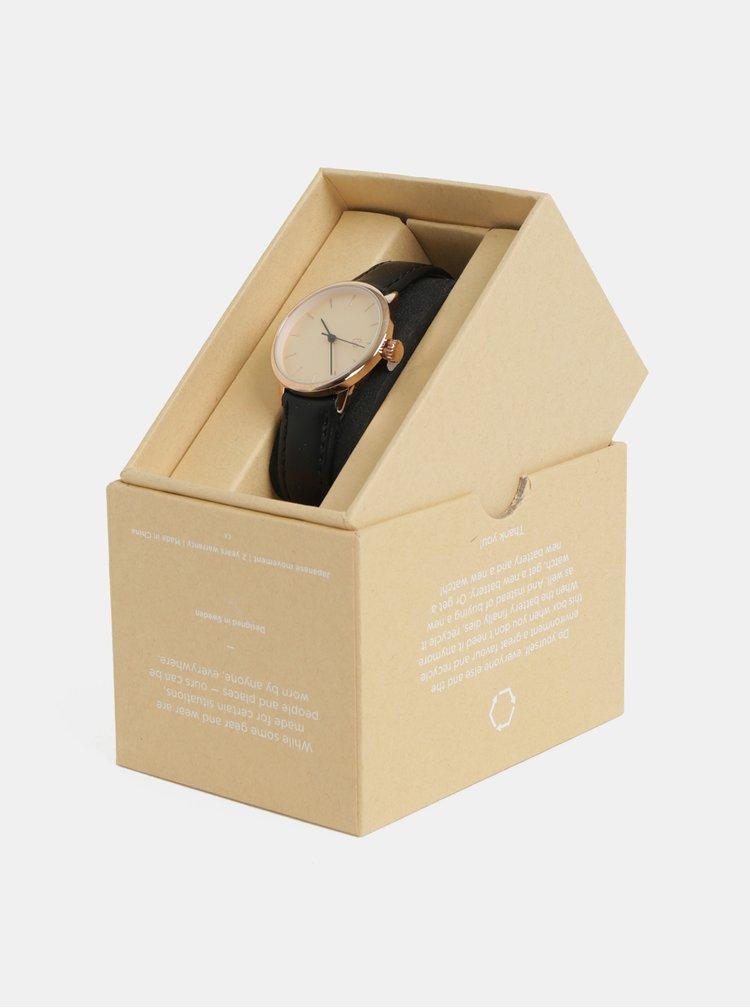 Ceas de dama cu curea neagra din piele vegan CHPO Khorshid mini