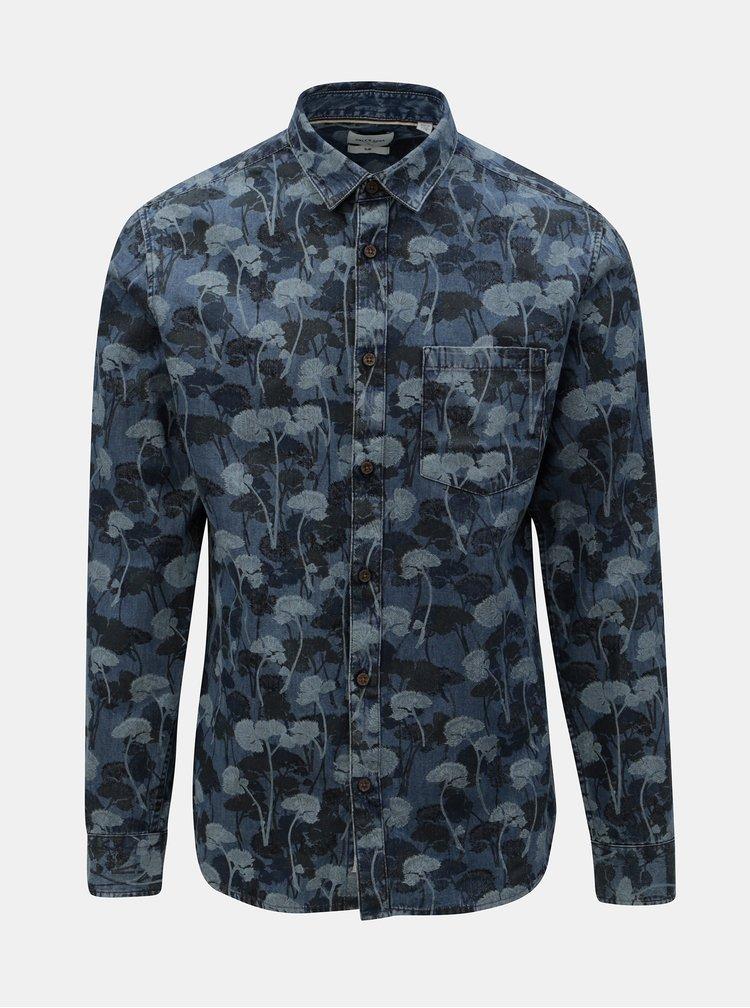 Modrá květovaná džínová slim fit košile ONLY & SONS Theo