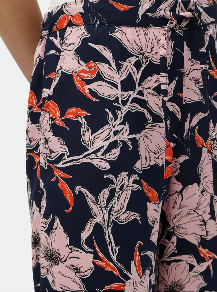 Pantaloni albastru inchis florali Jacqueline de Yong Yadira
