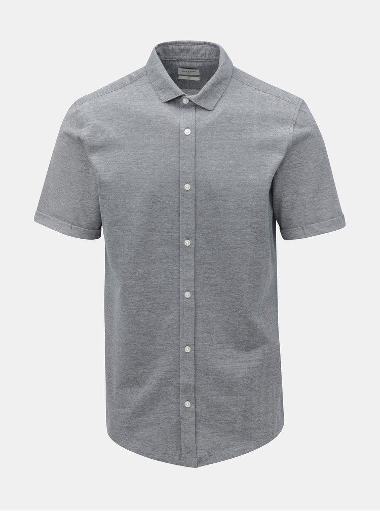 Modrá žíhaná slim fit košile s krátkým rukávem ONLY & SONS Cuton