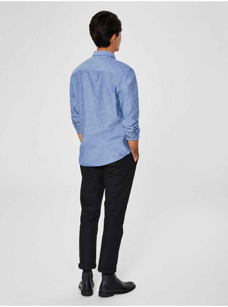 Modrá žíhaná slim fit košile s příměsí lnu Selected Homme Linen