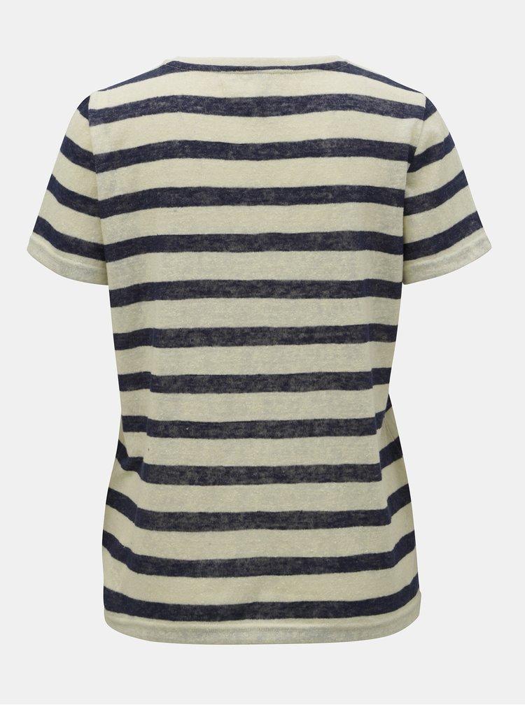 Modro–béžové pruhované tričko s mašľou ONLY Rill