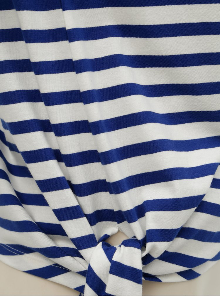 Bílo-modré pruhované tričko s uzlem ONLY Brave