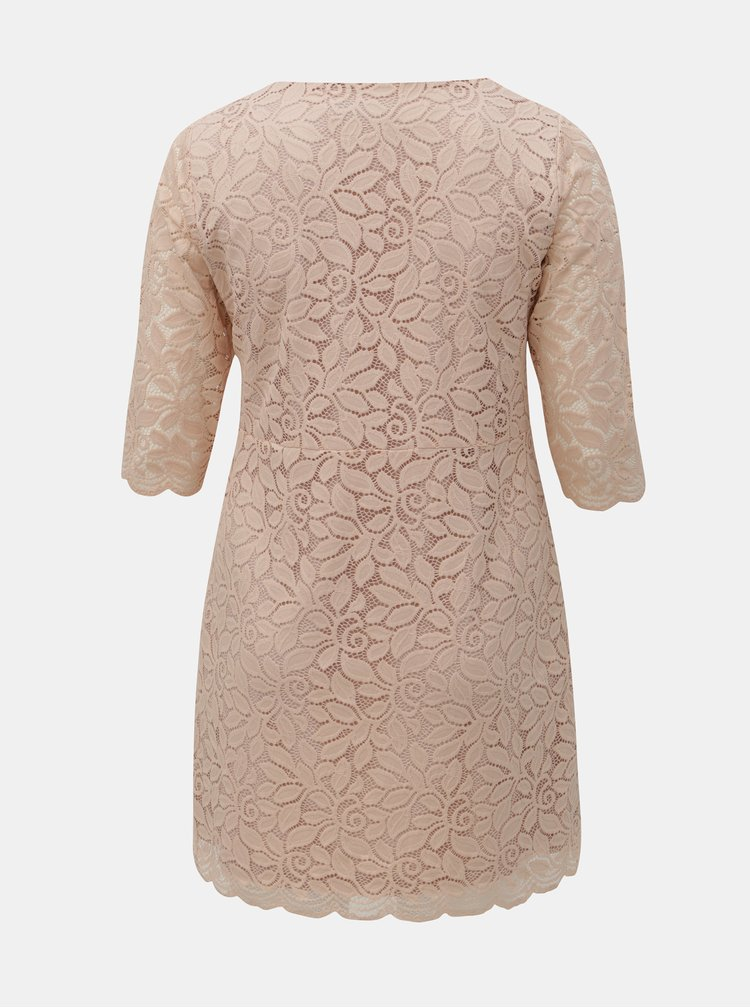 Ružové čipkované šaty ONLY CARMAKOMA Samant