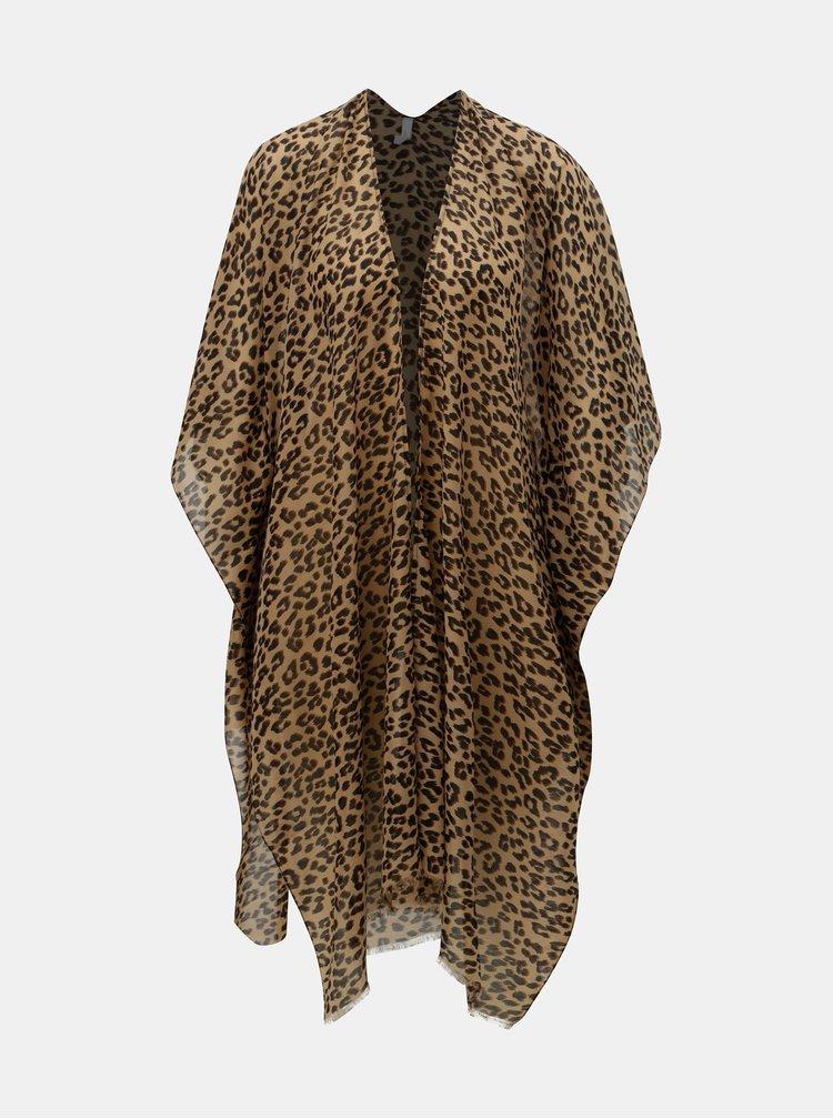 Hnědý kaftan s gepardím vzorem VERO MODA Lena