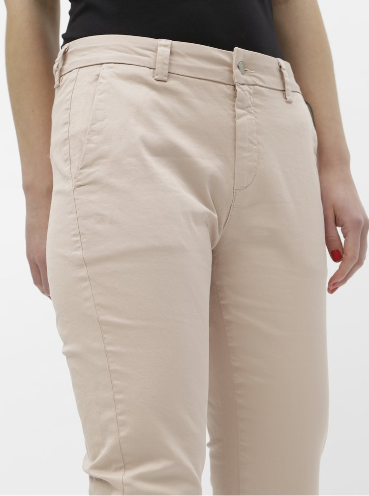 Svetloružové chino nohavice Selected Femme Megan