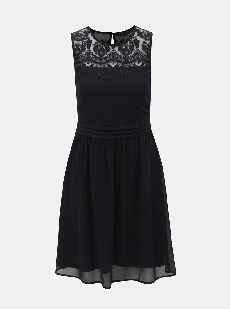 Tmavomodré šaty s čipkou VERO MODA Vanessa