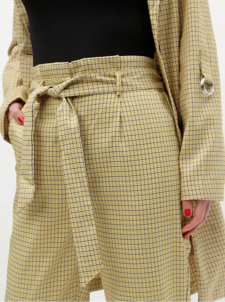 Béžové kostkované kalhoty s vysokým pasem VILA Faylinn