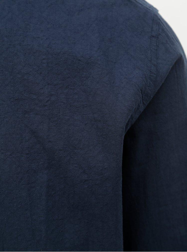 Tmavomodrá regular fit košeľa s prímesou ľanu Selected Homme Michael