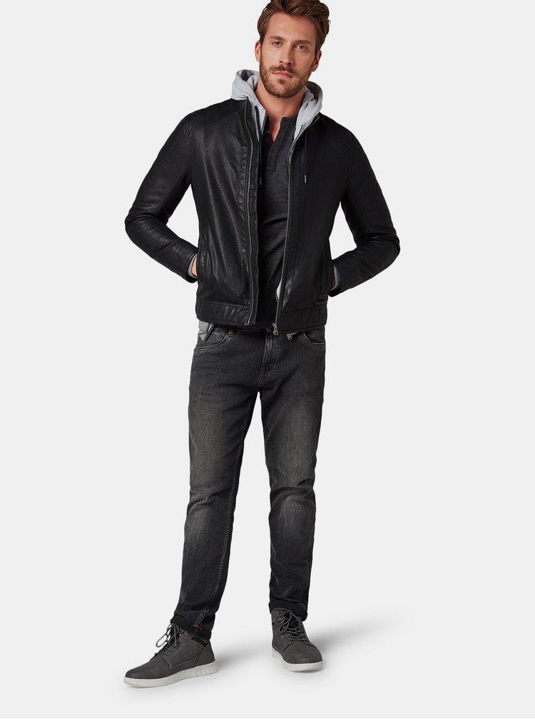 Tmavě šedé pánské basic tričko Tom Tailor