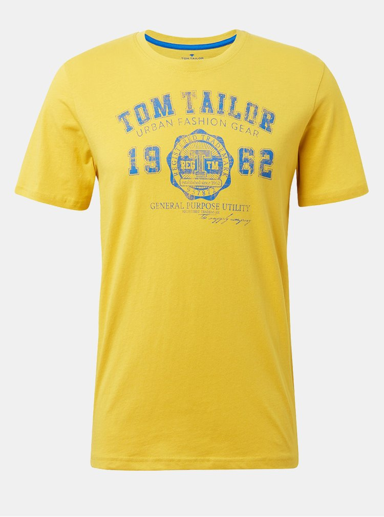 Tricou barbatesc galben cu imprimeu Tom Tailor
