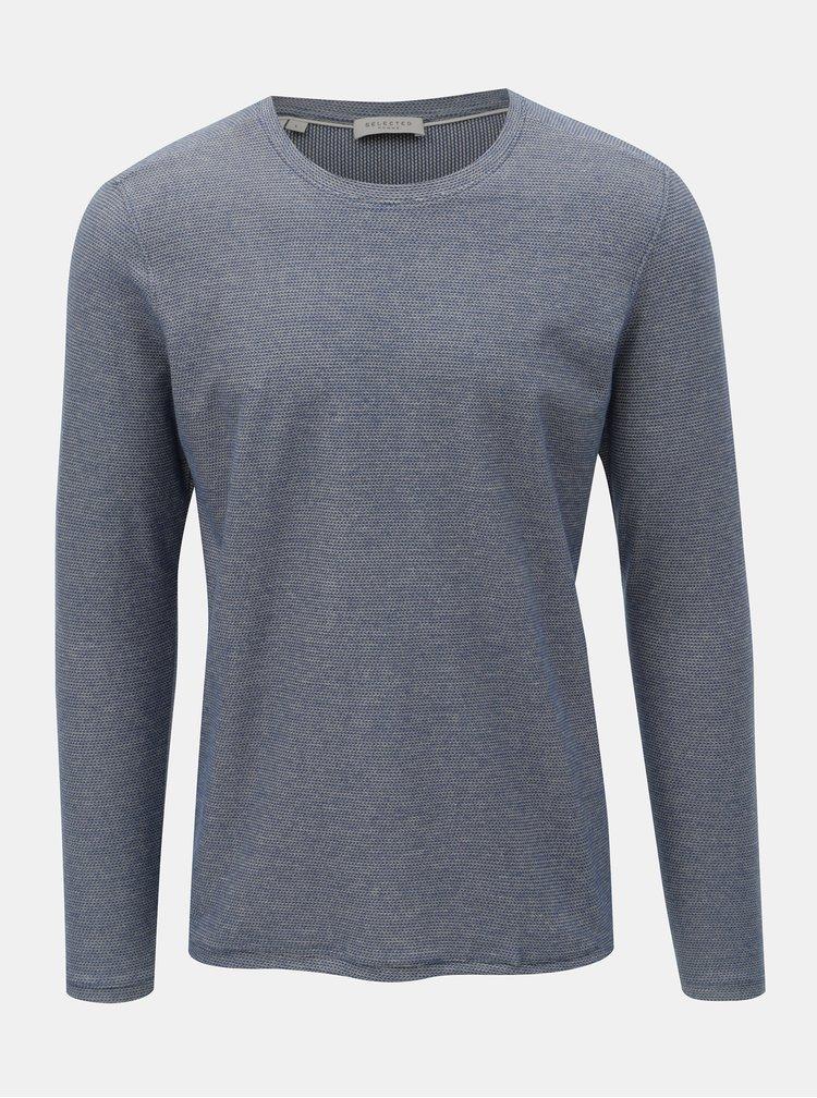 Modré melírované tričko Selected Homme James