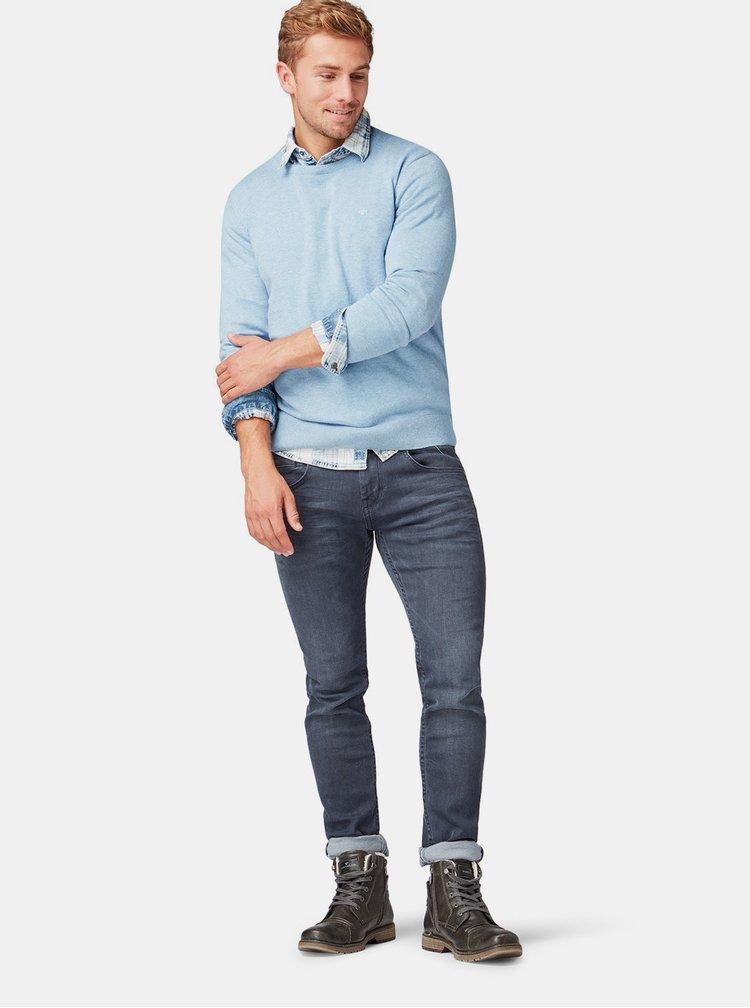 Světle modrý pánský basic svetr Tom Tailor