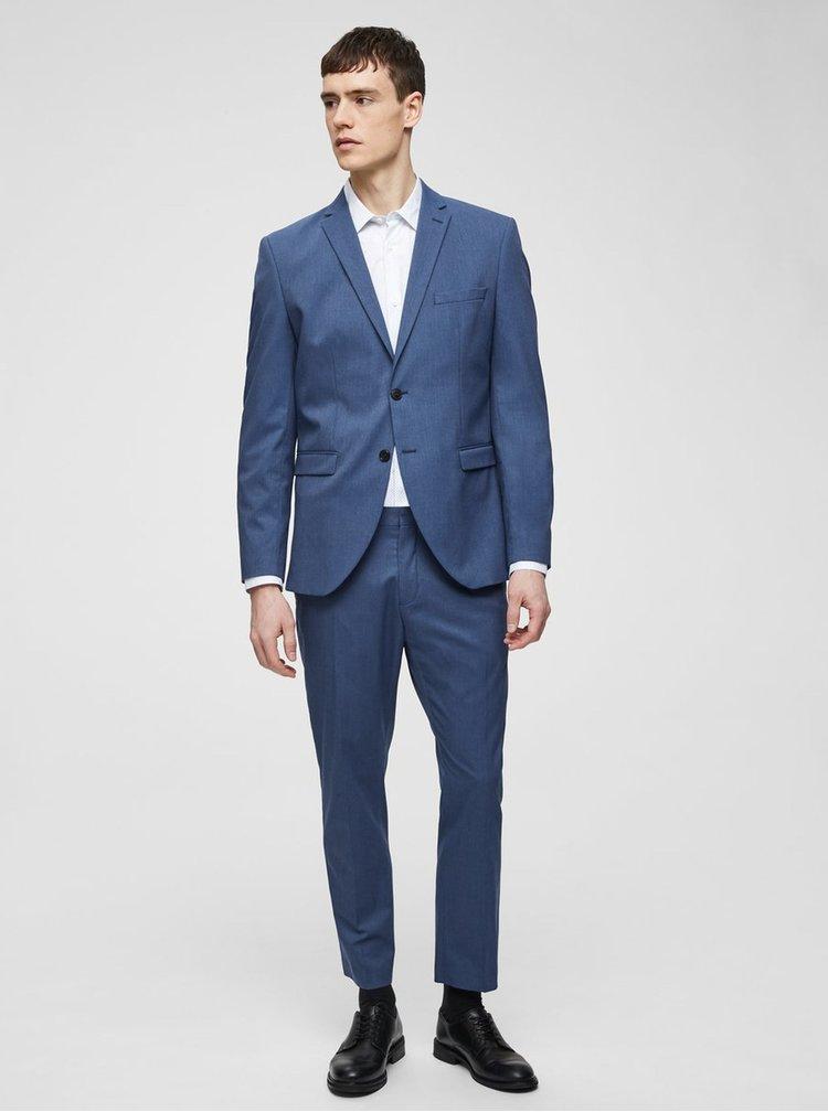 Pantaloni formali albastri slim Selected Homme Logan