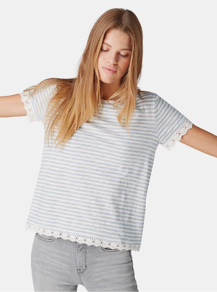 Modro-bílé dámské pruhované tričko s krajkou Tom Tailor Denim