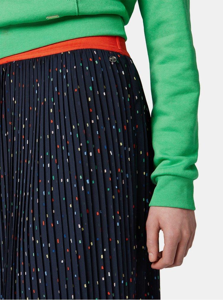 Tmavomodrá vzorovaná plisovaná sukňa Tom Tailor Denim