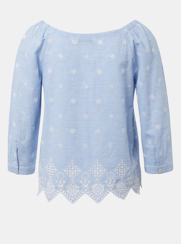 Bluza albastru deschis in dungi cu madeira Tom Tailor