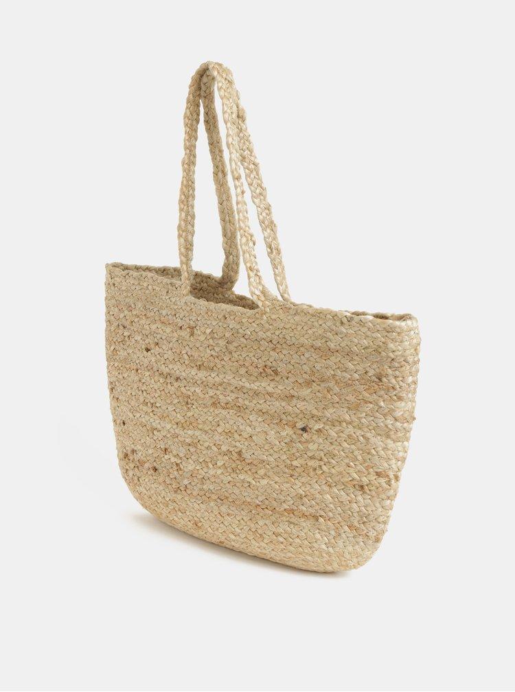 Béžová jutová plážová taška Pieces Becky