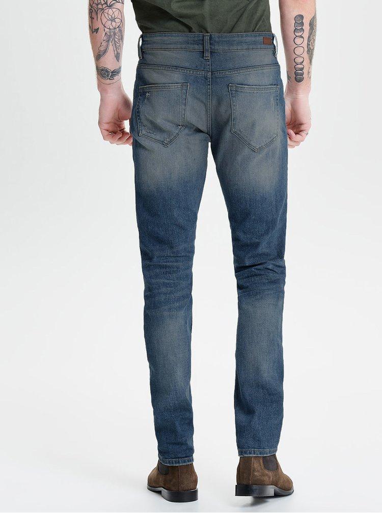 Blugi slim fit albastri cu aspect uzat - ONLY & SONS Loom