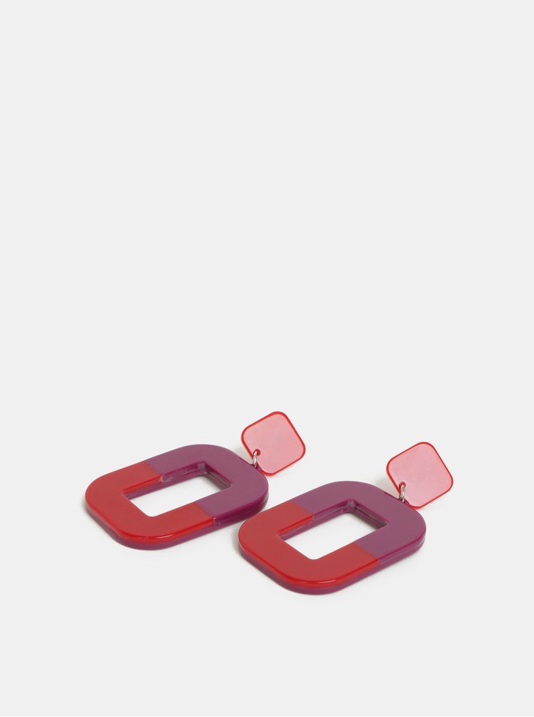 Fialovo-červené náušnice Pieces Fie