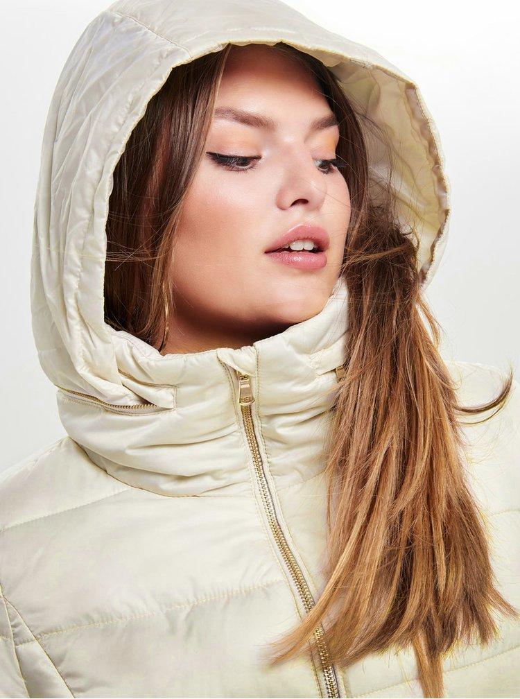 Krémová prošívaná bunda s límcem ONLY Emana