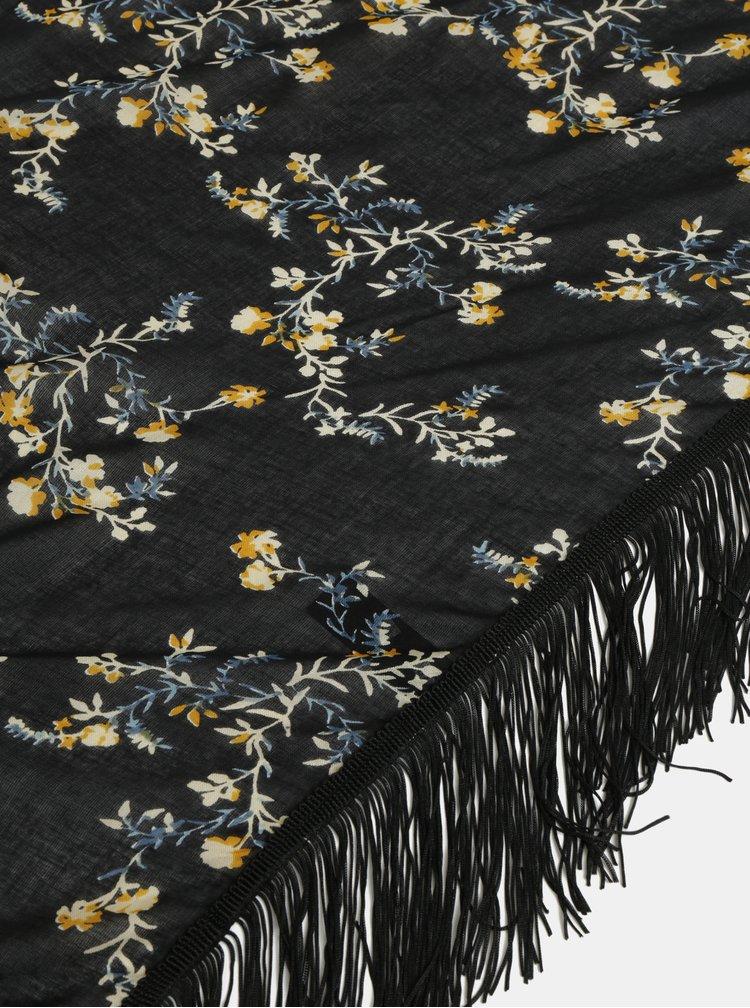 Černý květovaný šátek Pieces Bully